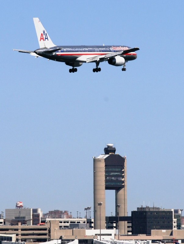 American 757-223 over Logan Tower