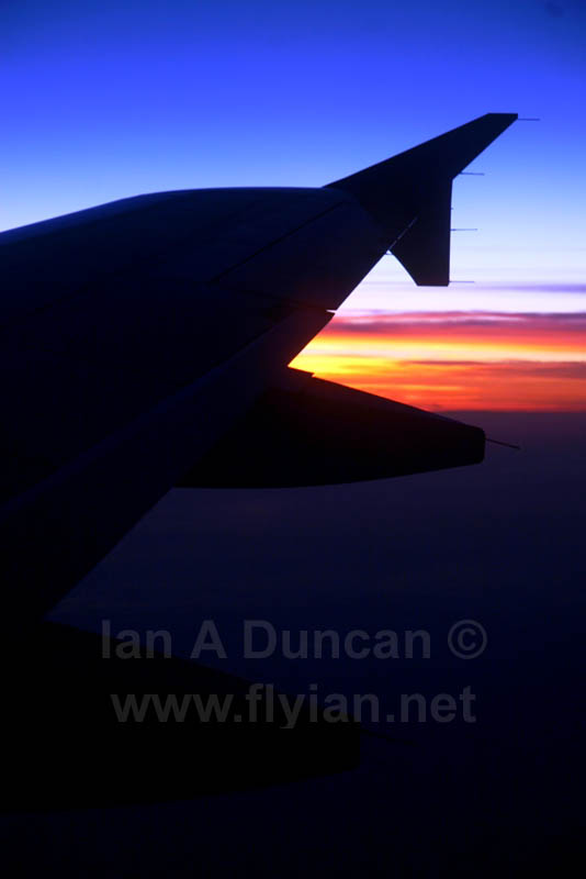 320 winglet against sunset