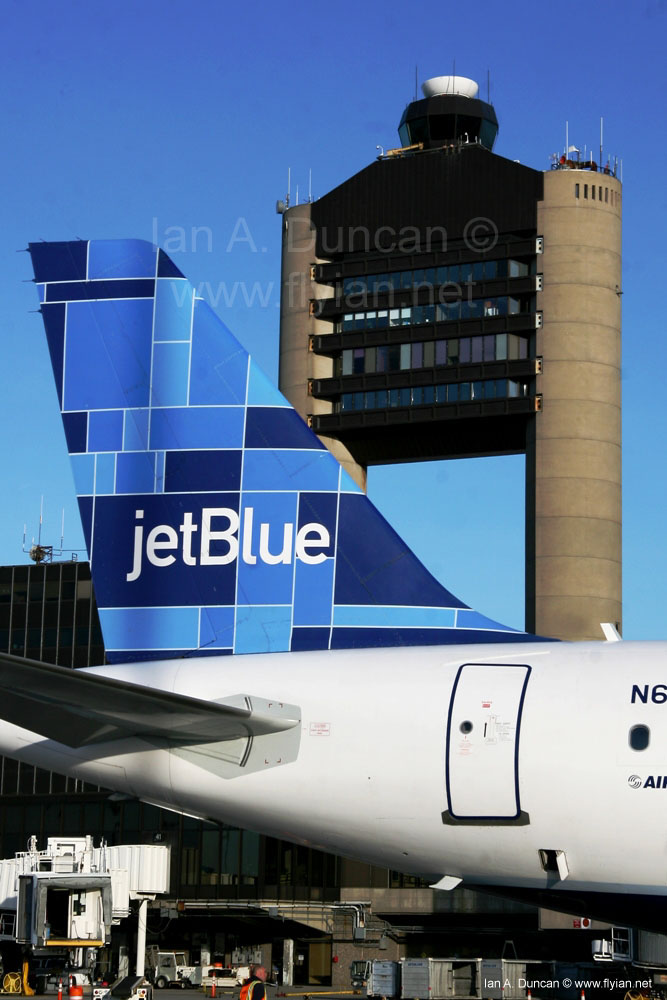 JetBlue Tail against BOS Tower