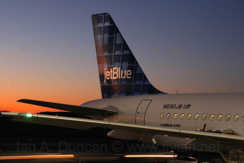 N590JB tail at sunrise