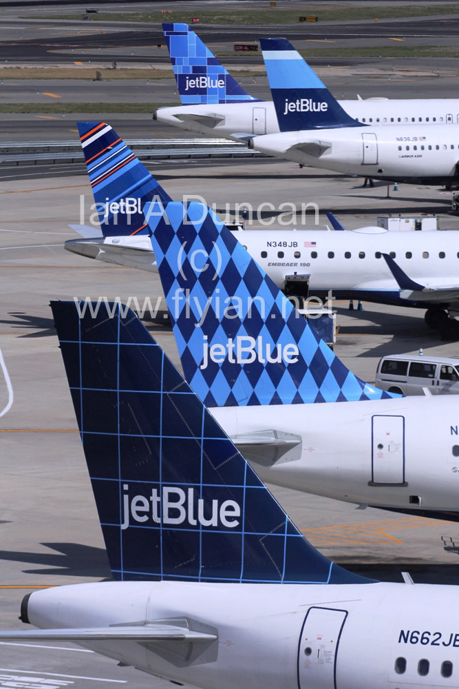 Five JetBlue tails at JFK