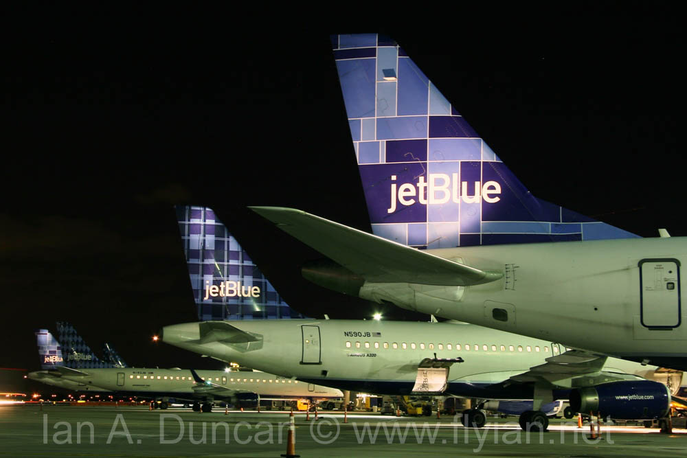JetBlue tails at night